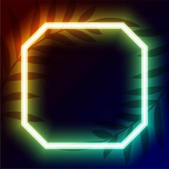 Geometrisches neonrahmen-design mit textraum