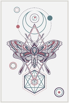 Geometrisches nobles totem-schmetterlings-illustrations-design