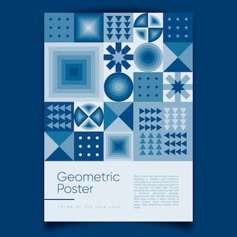 Geometrisches plakat mit klassischer blauer farbe des jahres
