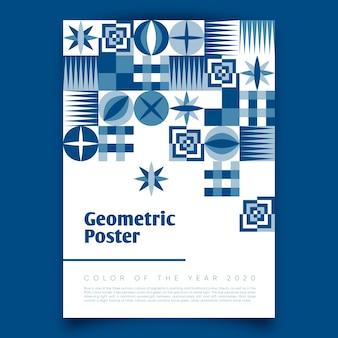 Geometrisches plakat mit klassischer palette des blaus 2020