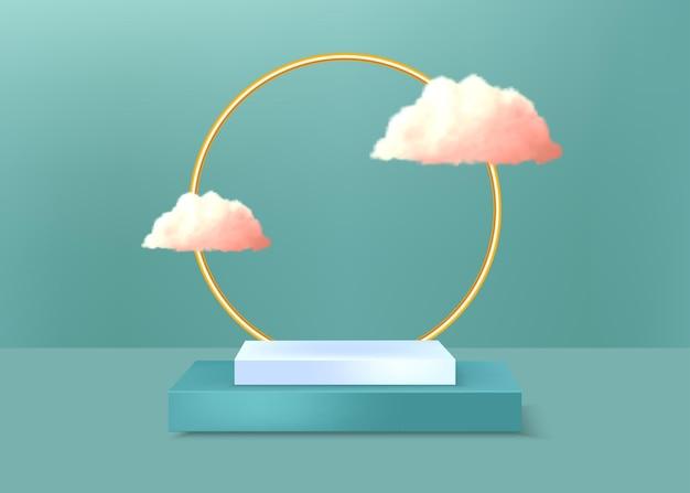 Geometrisches podium und goldene runde mit rosa wolken