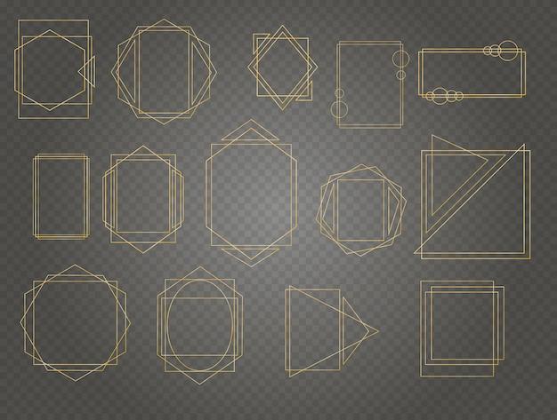 Geometrisches polyeder, art-deco-stil für hochzeitseinladung, luxusschablonen, dekorative muster.