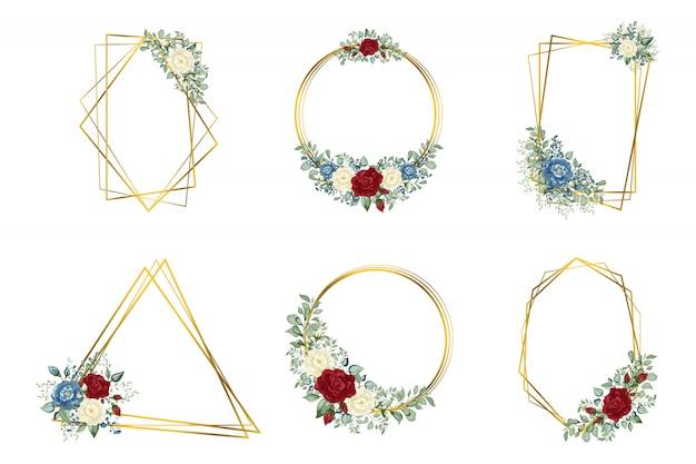 Geometrisches polyederhochzeitseinladungsdeko-entwurfsdesign des botanischen goldes