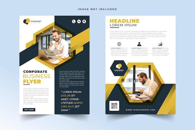 Geometrisches rahmenkonzept corporate business flyer design template set