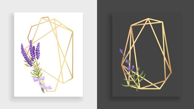 Geometrisches rahmenpolyeder. abstrakter goldener blumenrahmen mit blättern und zweig des flieders. luxus dekorative moderne polygonale geometrische