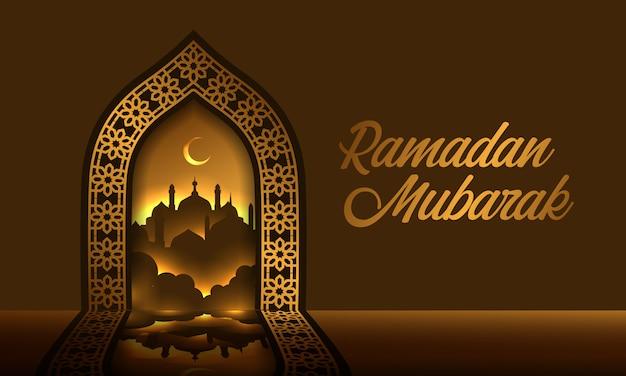 Geometrisches tor mit reflexion und silhouette moschee ramadan