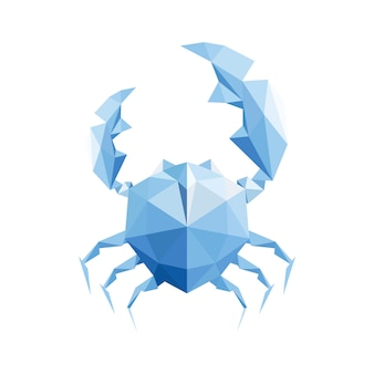 Geometrisches vektordesign der blauen krabbe