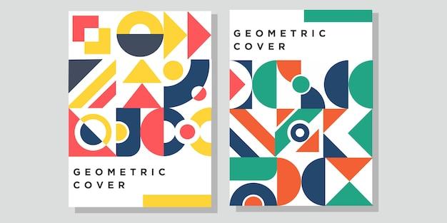 Geometrisches vintages abdeckungsdesign in der memphis-art