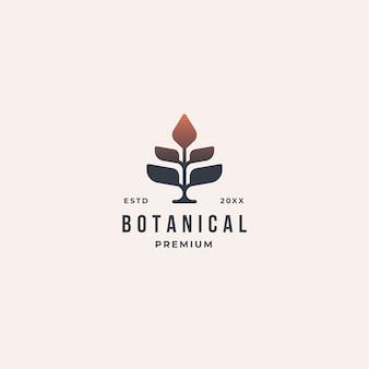 Geometrisches weinlese-botanisches naturbaumlogokonzept