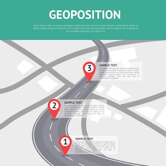 Geoposition-konzept mit pin-zeigern