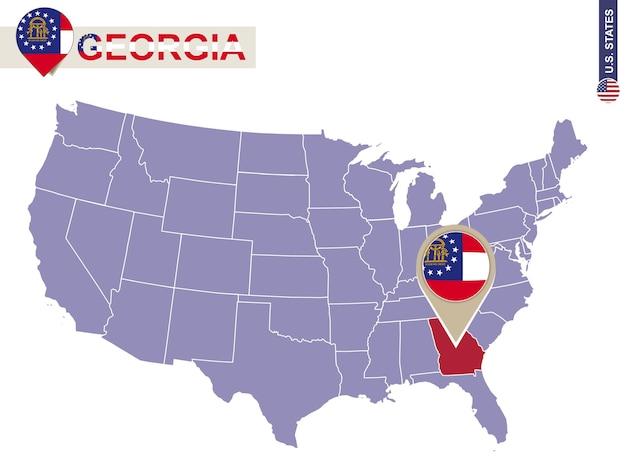 Georgia state auf der karte der usa. georgien-flagge und karte. us-staaten.