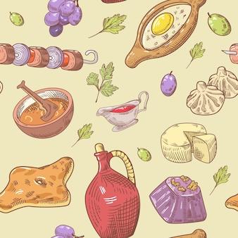 Georgian food hand gezeichnetes muster