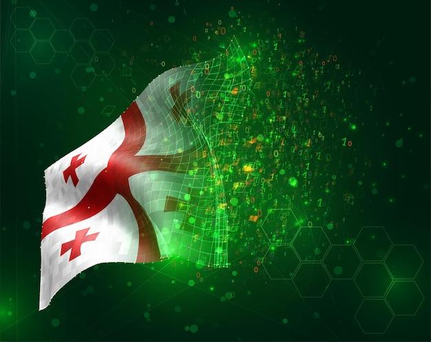 Georgien, vektor-3d-flagge auf grünem hintergrund mit polygonen und datennummern