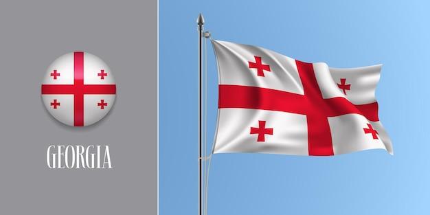 Georgien wehende flagge am fahnenmast und runde symbolvektorillustration. realistisches 3d-modell mit design der georgischen flagge und kreistaste