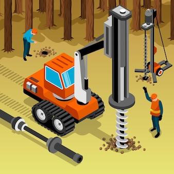 Geotechnische explorationsillustration