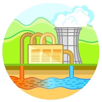 Geothermisches kraftwerk. öko-grüne-energie-konzeptillustration