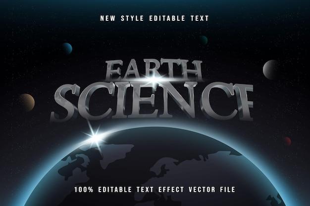 Geowissenschaftlicher bearbeitbarer texteffekt im silbernen stil