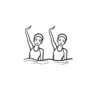 Gepaartes synchronschwimmen mit leistung. weibliche synchronisierte schwimmer, schwimmer-teamwork, schwimmbadkonzept