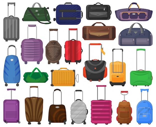 Gepäck cartoon symbol. isoliertes karikatursatzikonengepäck.