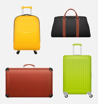 Gepäck realistisch. reisekoffersammlung für geschäftstouristenillustrationen. koffer und gepäck, urlaubsgepäckabholung