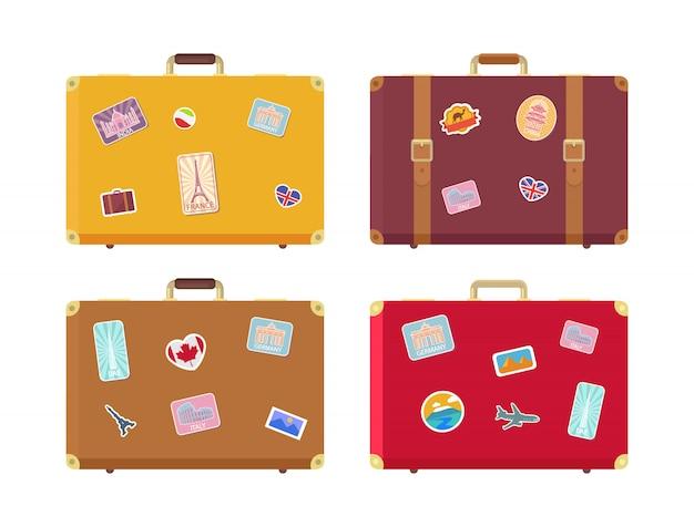 Gepäck reisetaschen mit aufklebern set