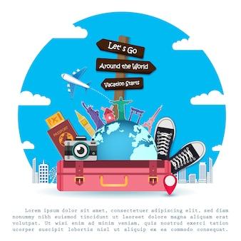 Gepäck reisezubehör auf der ganzen welt.