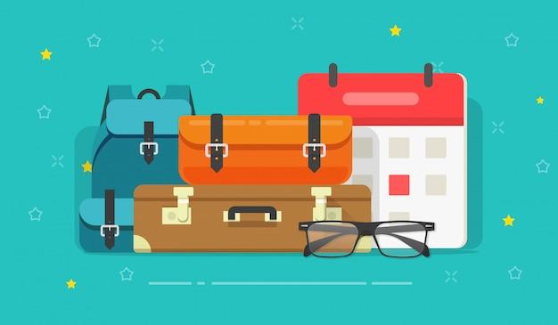 Gepäcktaschen oder gepäckkoffer als flache karikatur der reiseplanungszeitillustration
