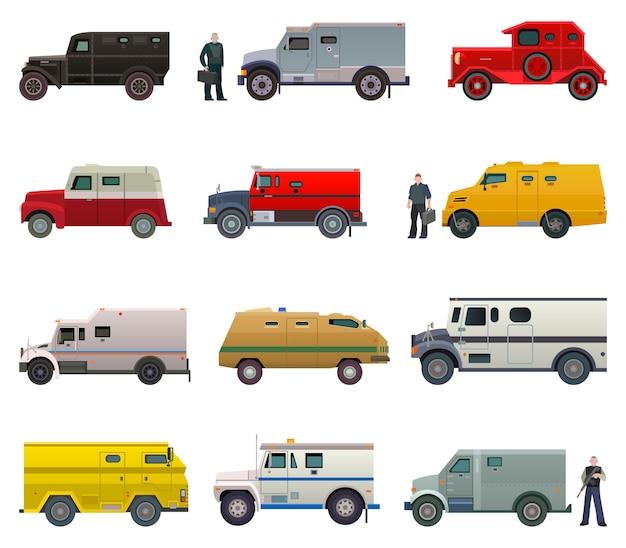 Gepanzerte seitenansichtillustration des geldtransporterfahrzeugvektorbank-packwagentransportautos