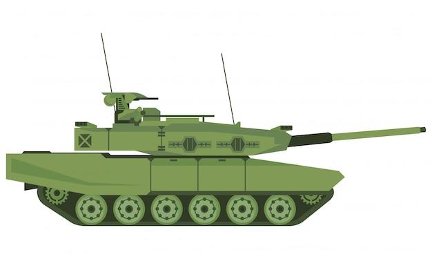 Gepanzerter panzer im schlachtfeld mit weißem hintergrund