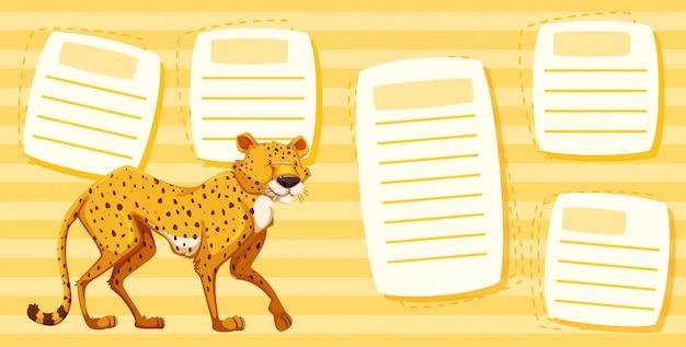 Gepard auf textnotizschablone
