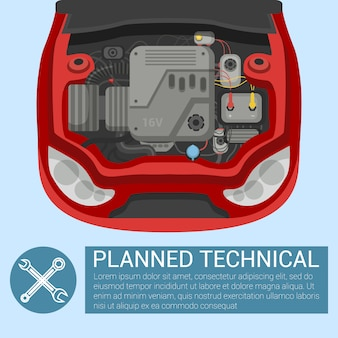 Geplante technische. auto mit offener motorhaube.
