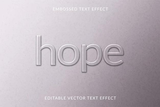 Geprägte bearbeitbare texteffektvorlage graues papier strukturierter hintergrund