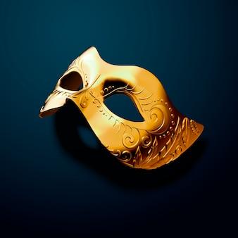 Geprägte goldene maske auf pfauenblau