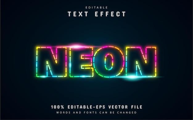 Gepunktete linie, neonfarbener bunter texteffekt