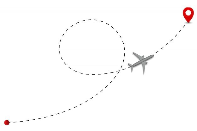 Gepunktete linien der flugzeugroute.