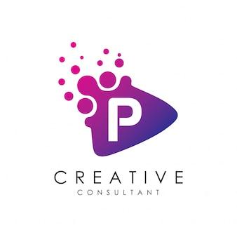 Gepunktete play letter p logo