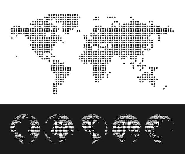 Gepunktete weltkarte und globus-set. illustration
