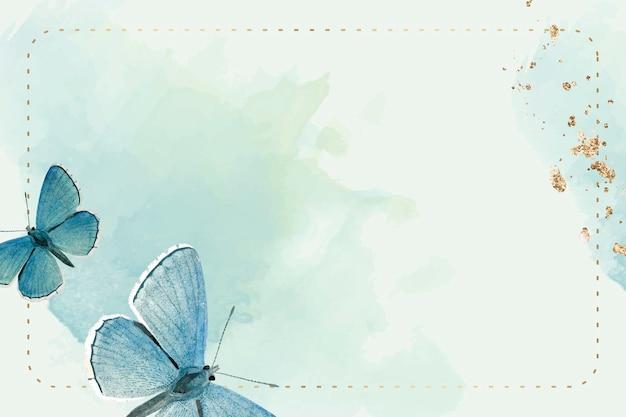 Gepunkteter rahmen mit blauen schmetterlingen gemustertem hintergrund