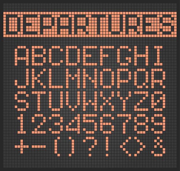 Gepunkteter text. alphabetische buchstaben und zahlen des digitalen beleuchtungsalphabets für flugzeugmonitor gesetzt.