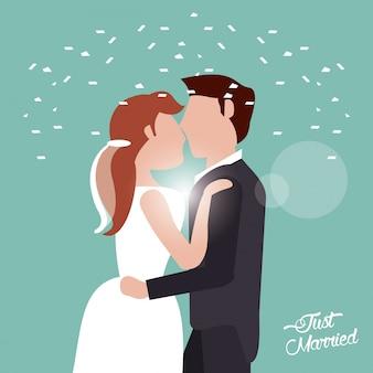 Gerade geheiratet, küssende paar konfetti