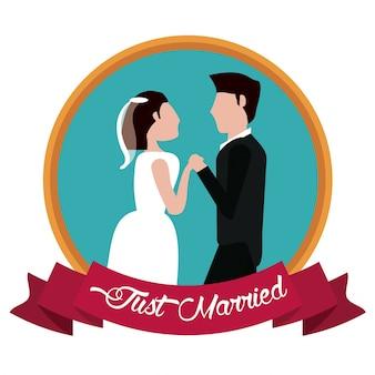 Gerade verheiratete aufkleberhändchenhalten