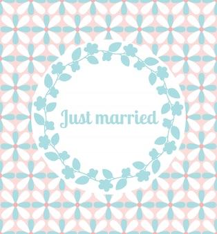 Gerade verheiratete hochzeitskarte mit blumenrahmen
