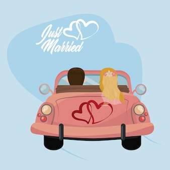 Gerade verheiratete hochzeitskarte