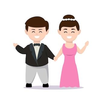 Gerade verheiratete paar maskottchen design illustration