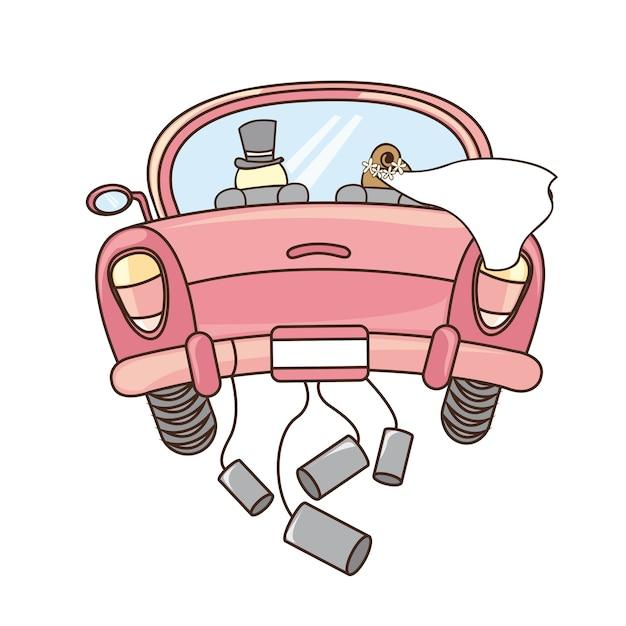 Gerade verheiratetes auto getrennt über weißer hintergrundvektorillustration