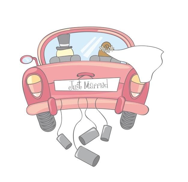 Gerade verheiratetes auto lokalisierte weinlesevektorillustration
