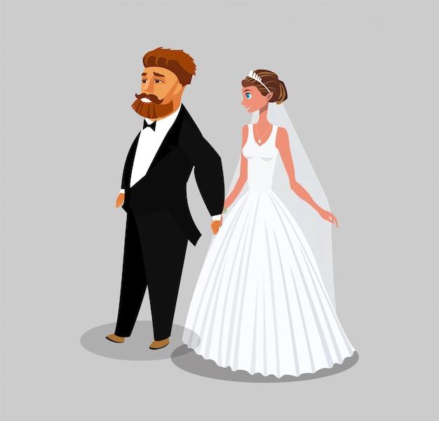 Gerade verheiratetes flaches portrait