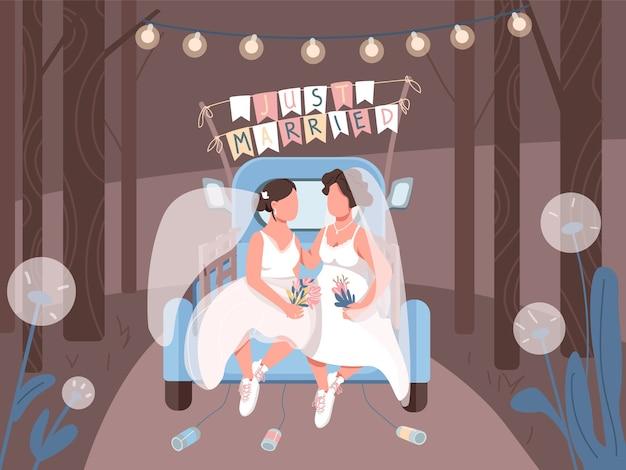 Gerade verheiratetes lesbisches paar in der flachen farbillustration des autos
