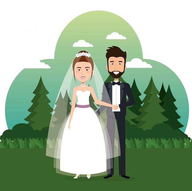 Gerade verheiratetes paar auf dem gebiet