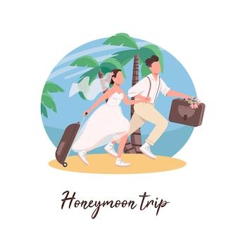Gerade verheiratetes paar erste reise social media post. flitterwochen-trip-phrase. web-banner-design-vorlage.